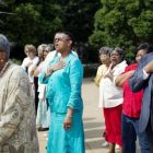 Participants sing national anthem at DC Juneteenth Ceremony