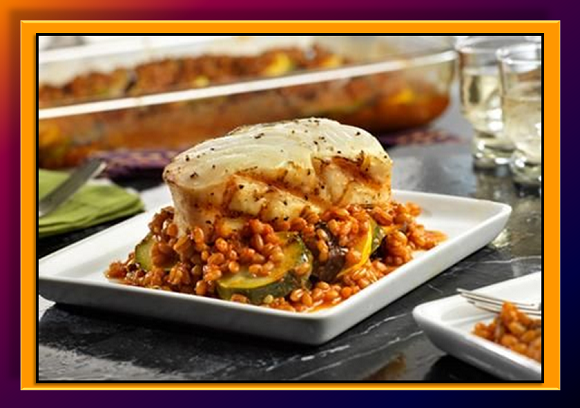 DH_Grilled Halibut with Wheatberry & Ratatouille Sauce
