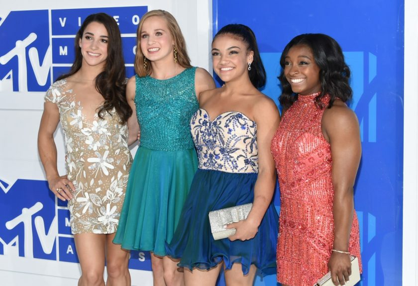 Madison Kocian, Aly Raisman, Simone Biles, and Laurie Hernandez VMAs_ AP Images