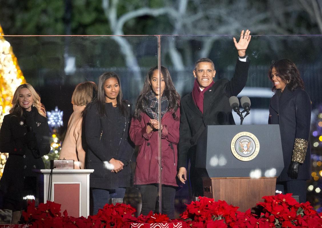 Obama Lighting Christmas Tree