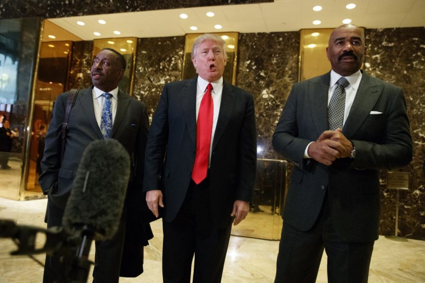 Steve Harvey Donald Trump conference call_AP Images